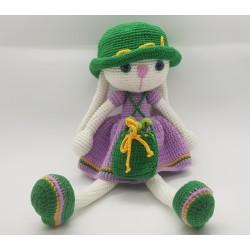 Bunny Girl - Amigurumi Crocheted Handmade Stuffed Doll 100% Organic Cotton