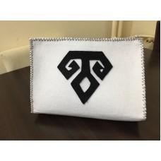 Handmade  White Felt Bag with the Anatolian Fertility Symbol