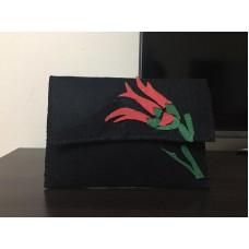 Handmade Red Tulip Pattern Black Felt Bag