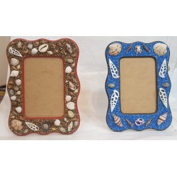 Wooden Photo Frame, Picture Holder, Handmade Decorated with Sea Shells