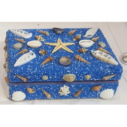 Blue sand coating hardboard jewelbox,Handmade wooden gift Box, Trinket Box Small Size