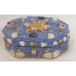 Blue sand coating hardboard Octagonal jewelbox,wooden gift Box,Trinket Box Small Size