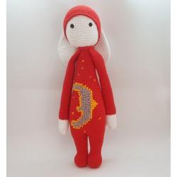 Red Moon Bunny - Amigurumi Laylala Crocheted Handmade Toy