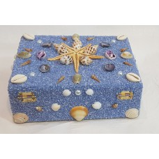 Blue sand coating hardboard jewelbox,  Handmade wooden gift Box, Trinket Box