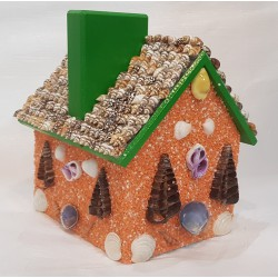 Decorative Handmade Orange Sand Coating Wooden Money box, Seashells Piggy Bank