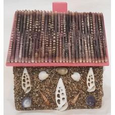 Decorative Handmade Natural Sand Coating Wooden Money box, Seashells Piggy Bank